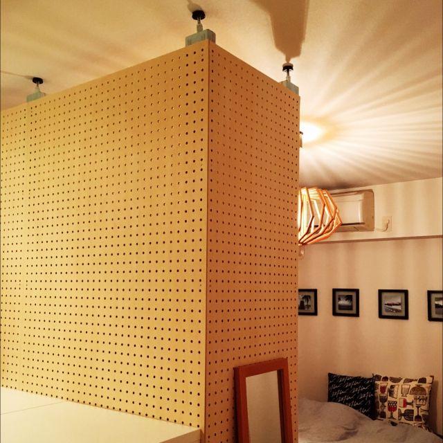 Xiaohaiさんの、ナチュラル,DIY,有孔ボード,パーテーション,ピラーブラケット,PILLAR BRACKET,2×4,壁/天井,のお部屋写真