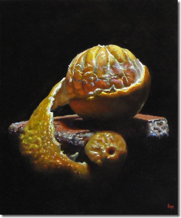 "Jeffrey Hayes: ""Peeling Orange on a Brick""   •   Oil on Panel   •   6 x 5 inches (15 x 13 cm)   •   2011"