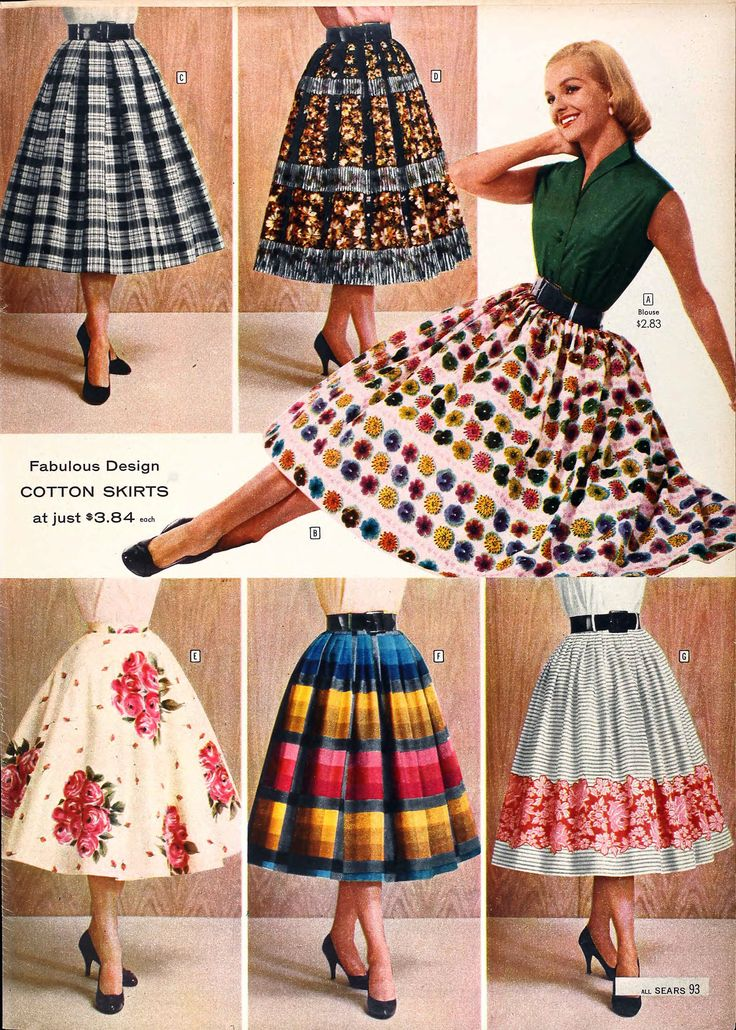 Fabulous full skirts from the Sears catalog, Spring/Summer 1958