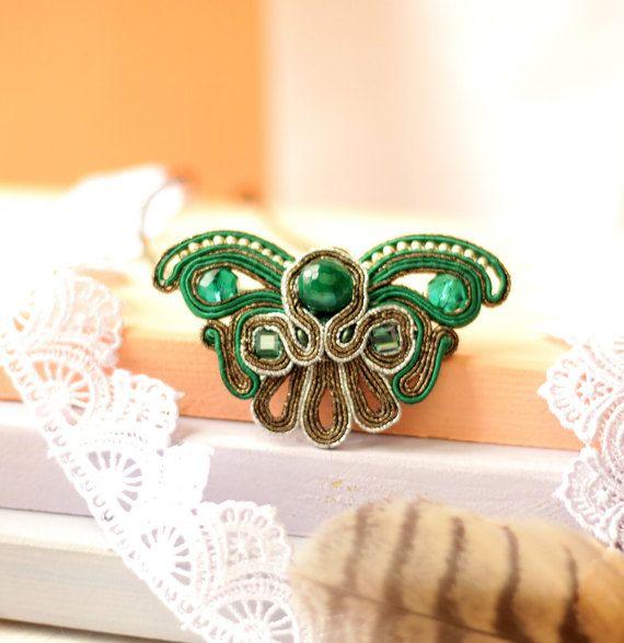 Украшения кулон Бабочка, вышивка сутажная, подарок для нее, серьги в подарок, стиль модерн
