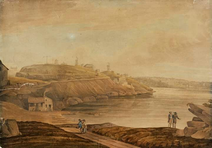Looking into Darling Harbour from Millers Point in Sydney in the 1860s.A watercolour,unsigned.Photo from State Library of NSW.A♥W