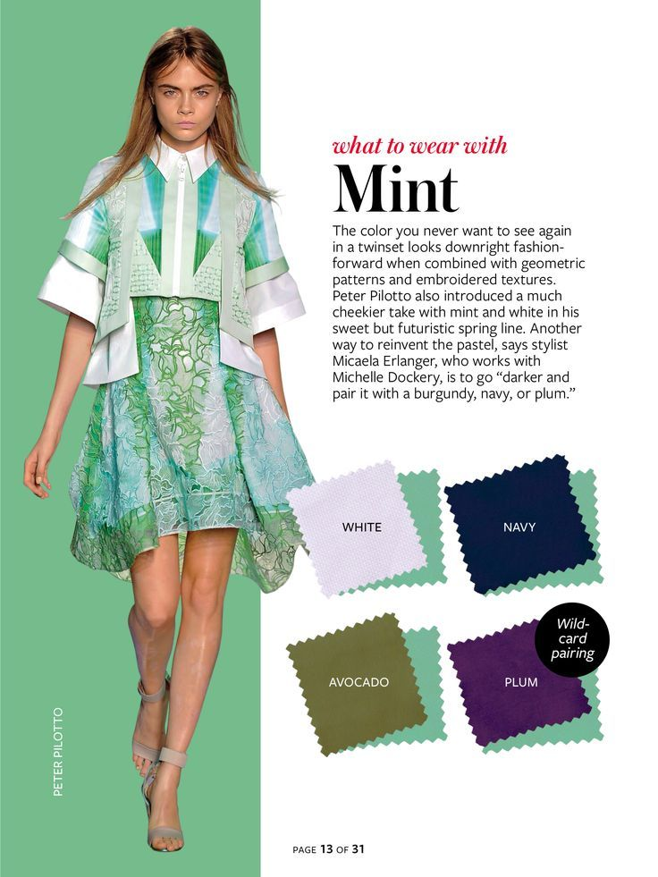 Spring Summer Color Charts From InStyle Magazine Mint