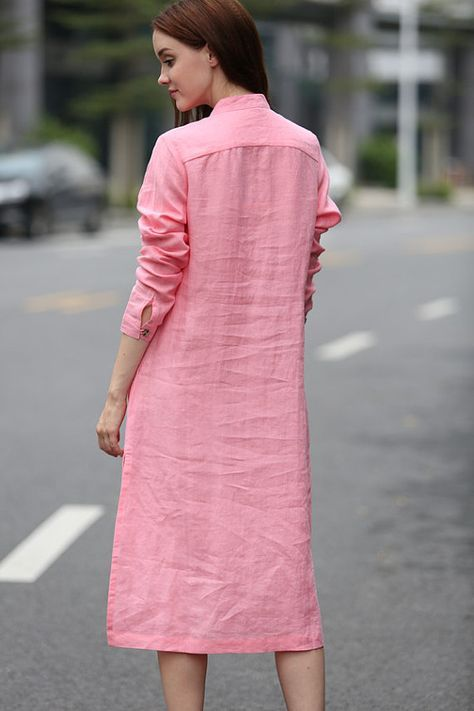 a8b544a2742 maxi linen shirt for women beautiful handmade tucks. single breasted with  wood buttons. stand collar. two pockets. simple graceful. you can wear it  as a ...