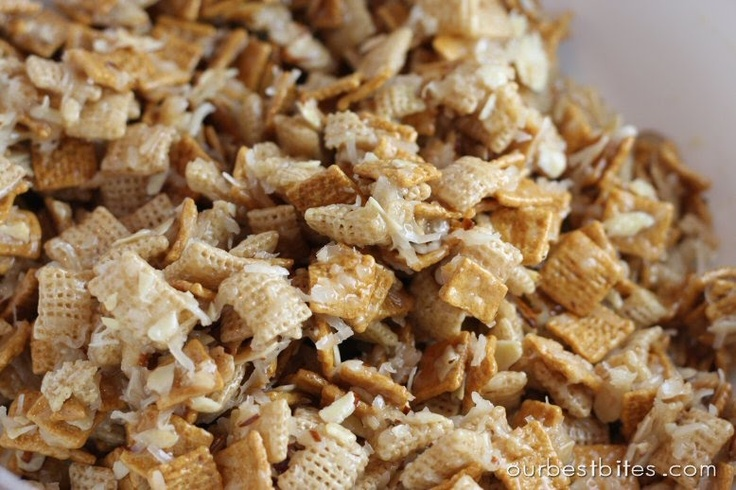 "Coconut Chex mix...also known as ""Christmas Crack"". SO good! Calls for Chex cereal, Golden Grahams, shredded coconut, lots o' butter, sugar and karo syrup. Had it this weekend and it was amazing! Hollaaa!"