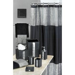Caprice Black Shower Curtain W/ Sequins  Popular Home Collections