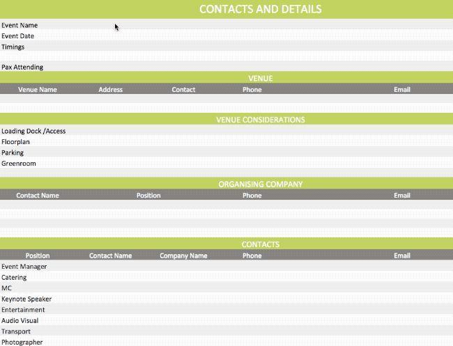 Event Run Sheet Template Event Management Event Planning