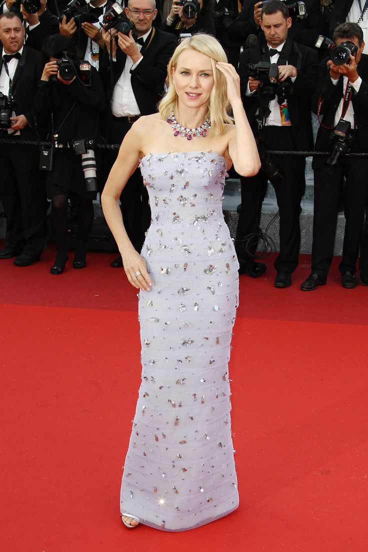 Naomi Watts wore an embellished Giorgio Armani Privé gown and Bulgari jewels to the Café Society premiere.