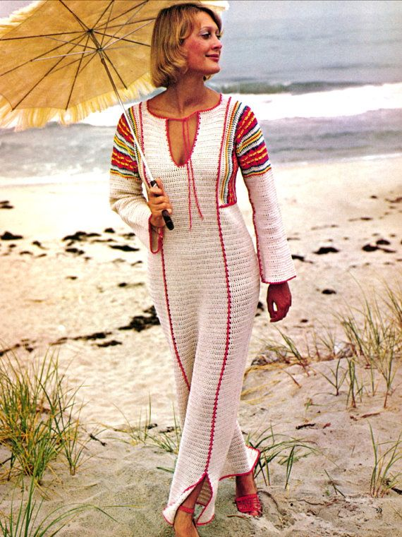 Vintage 1970s Crochet Pattern Crocheted Boho Maxi Dress Tunic PDF. $4.50, via Etsy.