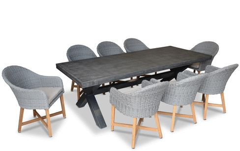 New York Industrial 2.4m GREY OUTDOOR POLY-CEMENT DINING TABLE WITH 8x  Coastal Chairs