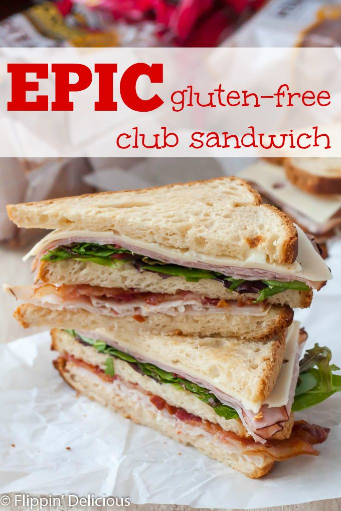 This BIG gluten free club sandwich will definitely satisfy your stomach. With three layers, it makes an epic lunch. #wideloaf AD @canyonbakehouse