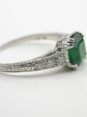 EMERALD Engagement Ring | Edwardian Inspired Vintage Emerald Engagement Ring, RG-3216 on imgfave