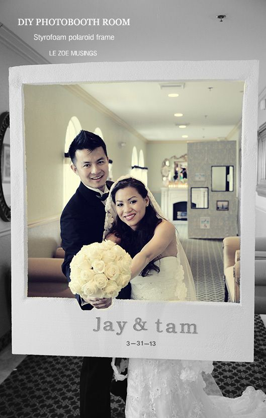 """DIY: Polaroid frame: """"cut out a polaroid frame using a Styrofoam board. Due to its lightweight, we were able to string it from the ceiling using fishing lines. Guests were able to stand behind it and shoot away!"""""""