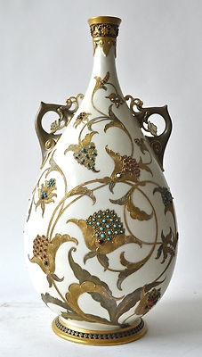Islamic-Style Royal Worcester Jeweled Vase - British Art Pottery