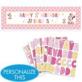 Personalized Minnie Mouse Birthday Banner 65in - Party City