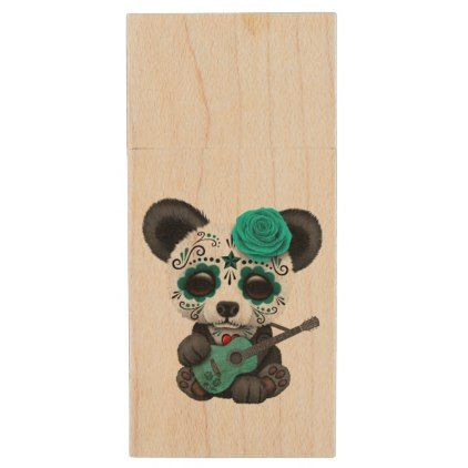 Blue Sugar Skull Panda Playing Guitar Wood Flash Drive - baby gifts child new born gift idea diy cyo special unique design