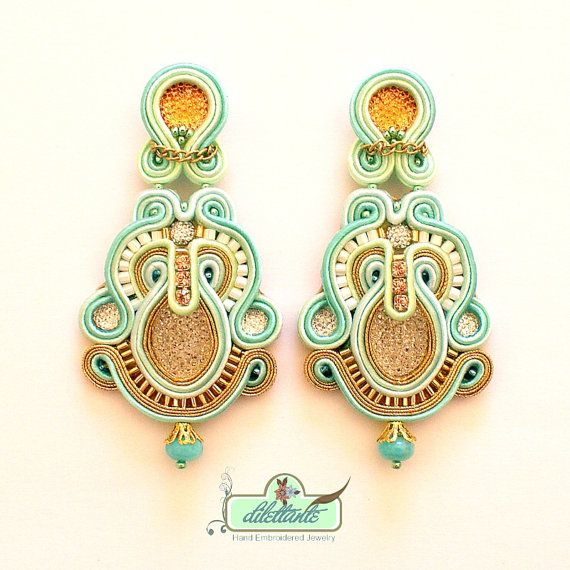 Soutache Earrings Bridal Swarovski Crystal by DILETTANTEsoutache, $180.00