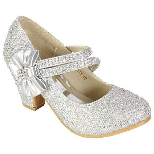 Oferta: 24.12€. Comprar Ofertas de MyShoeStore - Zapatos de boda para niña, con diamantes de imitación, estilo Mary Jane, de tacón bajo, color plateado, talla 3 barato. ¡Mira las ofertas!