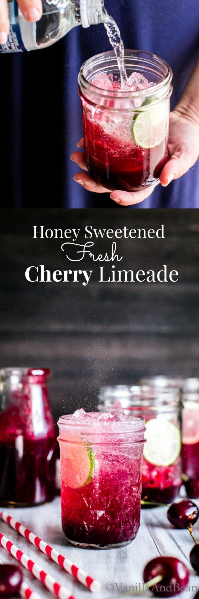 Honey Sweetened Fresh Cherry Limeade made in the Vitamix