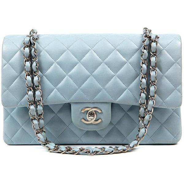 Authentic Chanel Powder Blue Leather Double Flap Classic Bag ❤ liked on Polyvore featuring bags, handbags, chanel, purses, chanel bags, leather purse, man bag, blue handbags, blue leather purse and leather hand bags