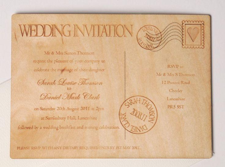 Laser Cut Wood Wedding Invitations: Wooden Laser Cut Postcard Wedding Invitation