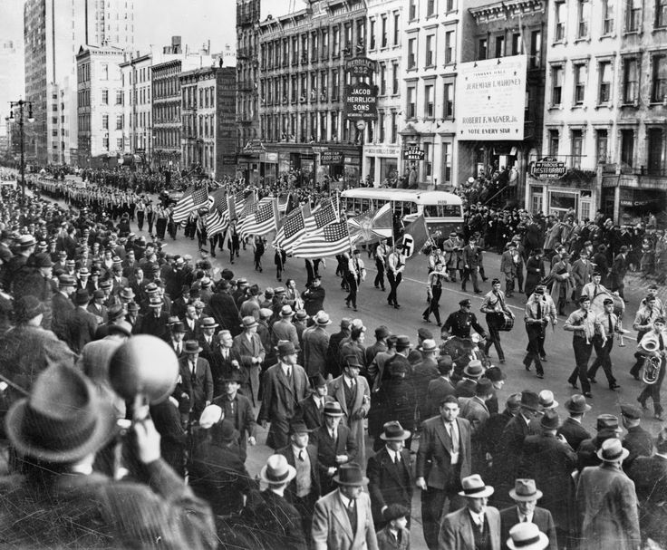 German American bund marches through New York, 1939
