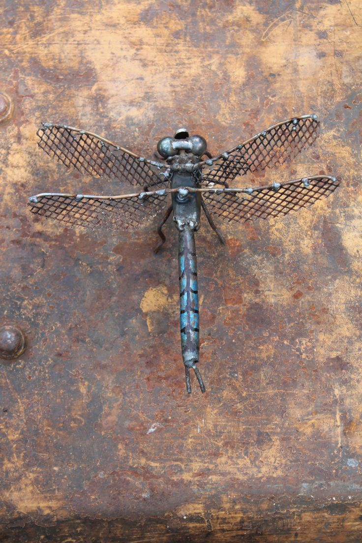 "6"" Emperor Dragonfly Scrap Metal Sculpture, Welded Unique Artwork, Reclaimed Materials by GreenHandSculpture on Etsy"