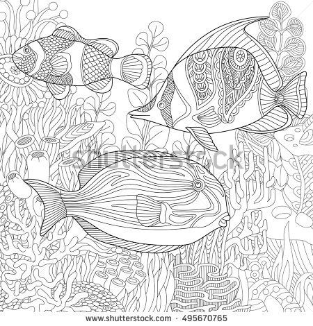 Stylized Composition Of Tropical Fish Underwater Seaweed And Corals