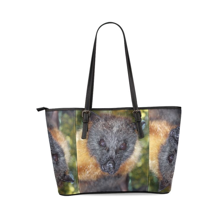 Walter the flying fox Tote bag Leather Tote Bag/Large (Model 1640).