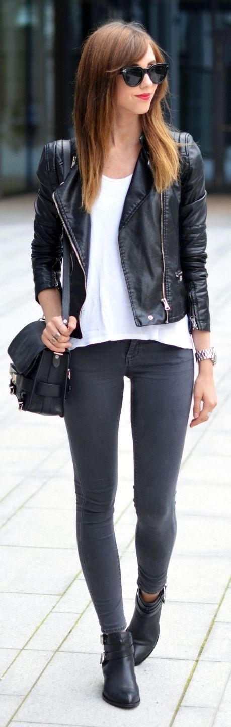 Grey skinnies + leather jacket.