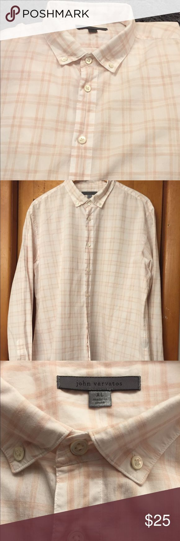 John Varvatos men's dress shirt 💥EUC💥 John Varvatos XL long sleeve dress shirt. 100% cotton. Perfect for any occasion, can be dressed up or dressed down. Measurements are in the photos. Color is beige and white. John Varvatos Shirts Dress Shirts