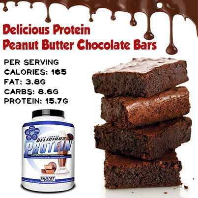 2 scoops of Giant Delicious Peanut Butter Chocolate Shake protein 1 tbsp natural-style peanut butter  ¼ cup rolled oats  4 egg whites ¼ tsp vanilla extract  ½ cup unsweetened applesauce  Directions preheat oven to 180 degrees C Mix the egg whites and uncooked oatmeal. Add the remaining ingredients. Spray a non-stick cooking spray in a baking dish. Spread the mixture in an even layer, over the bottom of the dish. Bake for t 20 minutes. Let cool and cut into bars.