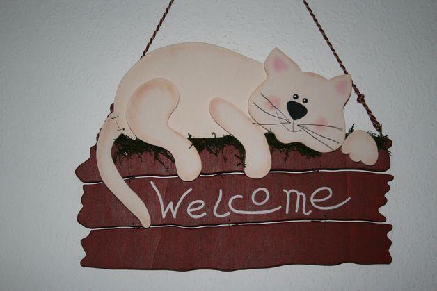 """Tür- & Namensschilder - Türschild """"Katze"""" - ein Designerstück von creativesholz bei DaWanda"""
