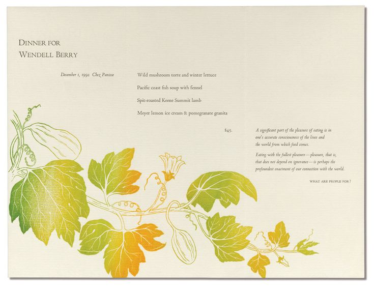 The Art of, and on, the Chez Panisse Menu - NYTimes.com