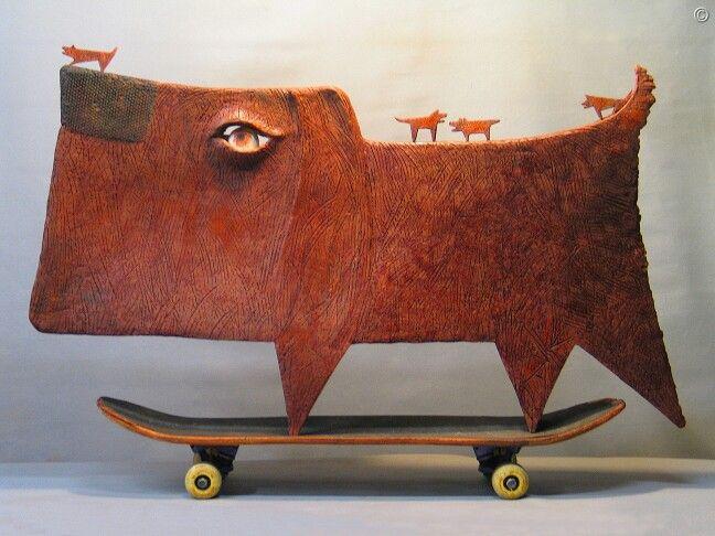 """JOY RIDE""                                ceramic/skateboard                                        by Klaus Dusselberg"