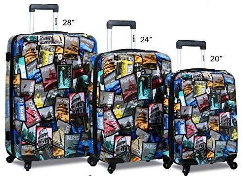 3pc Lightweight Destination Printed PC Spinner 4 Wheels Hard Case Luggage Set *** See this great product.