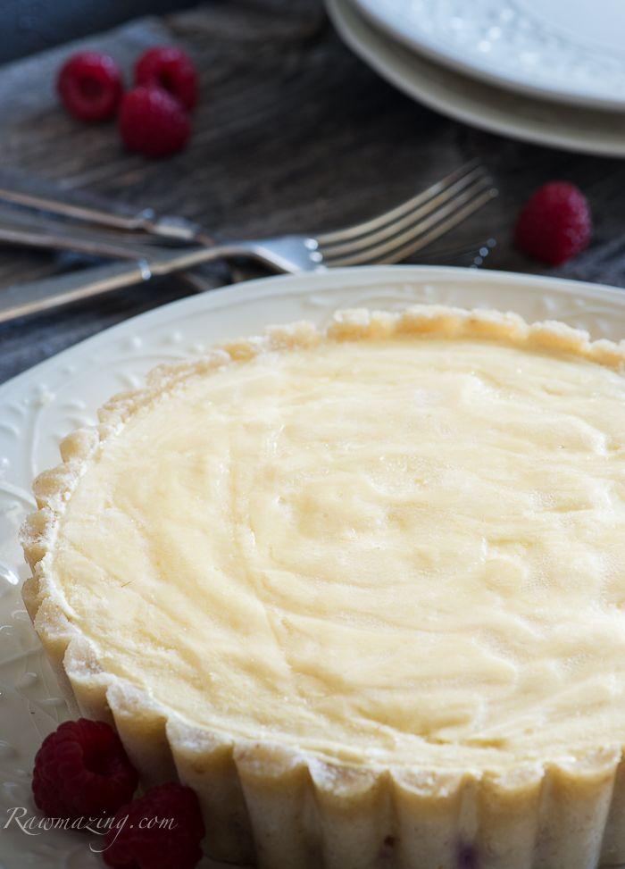 "#raw,# vegan, #glutenfree Meyer Lemon Tart with a raspberry ""jam"" layer. Delicious and guilt free!"