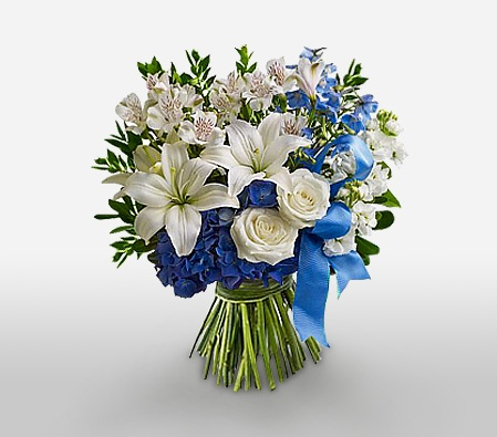 Birth: white roses and lilies.