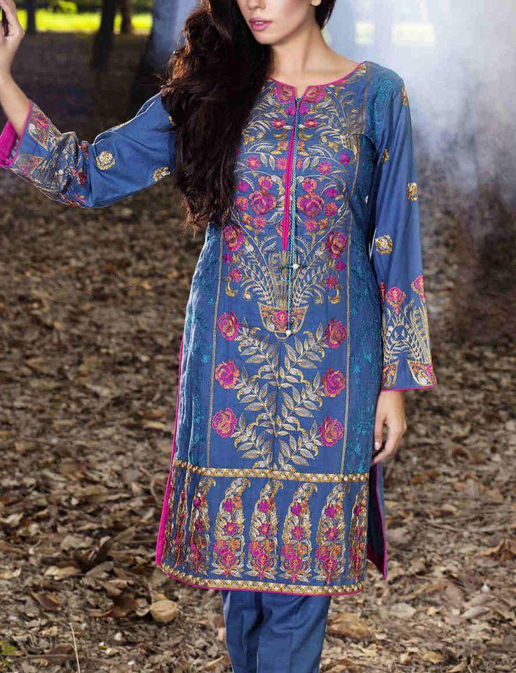 Buy Blue Embroidered Bambo Slub Salwar Kameez by Taana Baana 2015 Call: (702) 751-3523 Email: Info@PakRobe.com www.pakrobe.com #WINTER #SALWAR #KAMEEZ https://www.pakrobe.com/Women/Clothing/Buy-Winter-Salwar-Kameez-Online