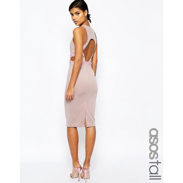 ASOS TALL Embellished Waist Midi Bodycon Dress With Open Back (32 AUD) ❤ liked on Polyvore featuring dresses, pink, midi cocktail dress, white midi dress, sequin bodycon dress, pink sequin dress and pink bodycon dress