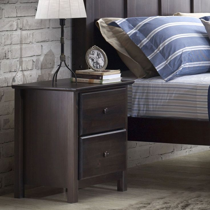 2 Drawer Nightstand Bedroom Table Furniture Modern Bed Side Expresso Wooden  New