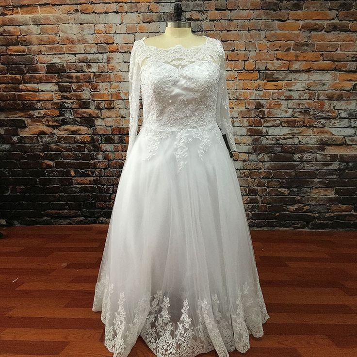 Romantic Lace Plus size Wedding Dresses Ball Gown Transparent Princess White Bridal Gown with Long Sleeve robe de mariee