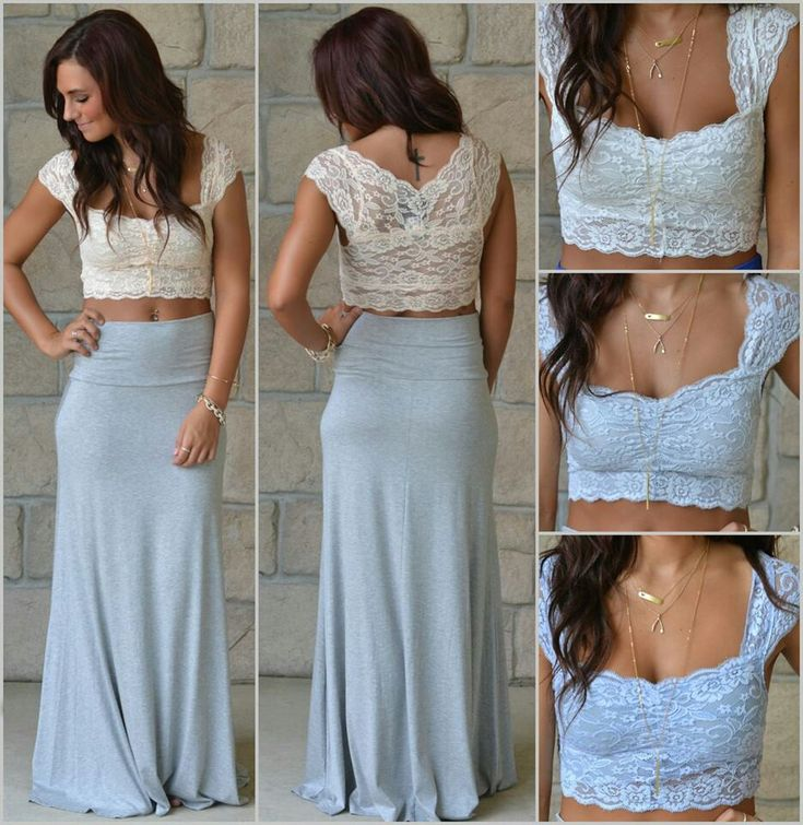 This pretty crop lace top would look great as a sari blouse..