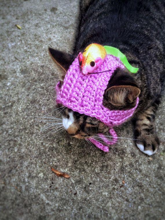 Cat Dog Costume Hat with Mouse Crochet Unique Handmade Pink Cat Dog Pet Hat