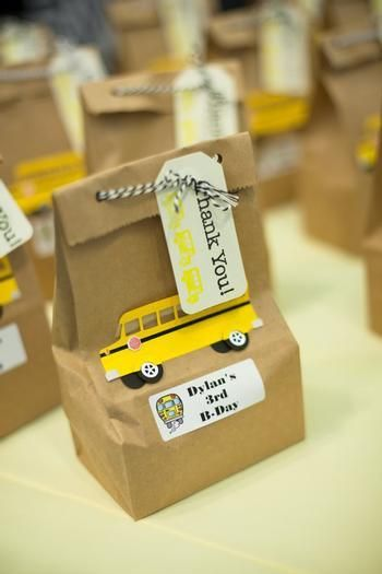 Fun favors at a School Bus Birthday Party!  See more party ideas at CatchMyParty.com!  #partyideas #school