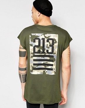 ASOS Oversized Sleeveless T-Shirt With Camo Number Back Print In Black