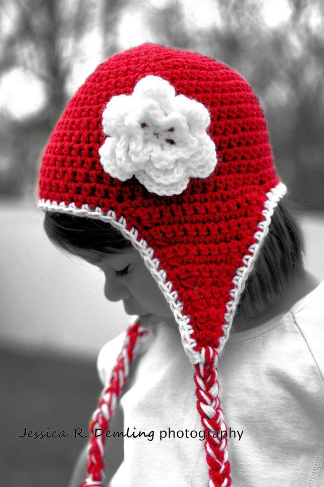 Hat - crochet ear flap hat with flower