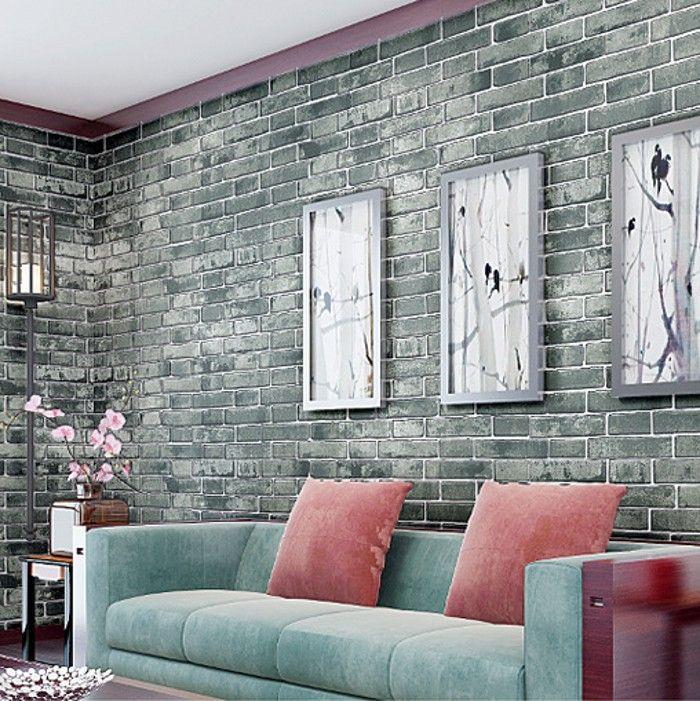 pas cher non tiss papier mural 3d lifelike imitation brique rouge blanc et bleu vtement