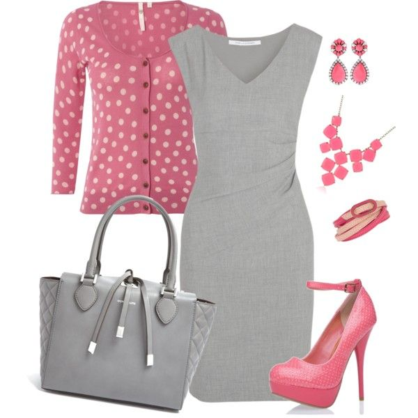 """Pink and Gray"" by alecias on Polyvore I'd like some shorter heels though. :)"