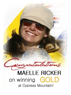 Congrats Maelle on winning gold at Cypress Mountain!