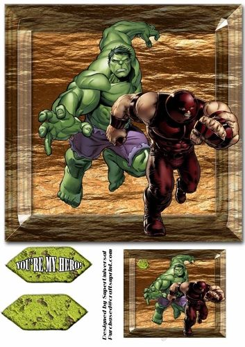 Hero Favorites 8x8 inch card front, comes with 2 labels and 1 tag..